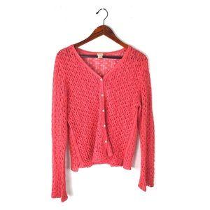 J. Jill  Large cardigan crochet knit button front
